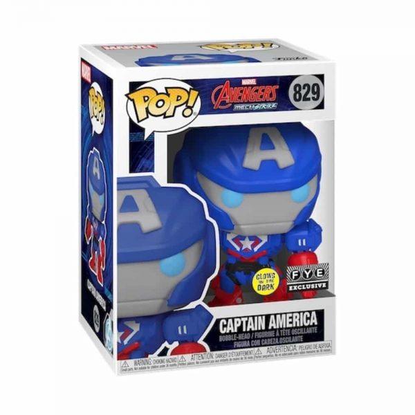 Funko Pop! Marvel: Avengers Mech Strike: Captain America Glow In The Dark (GITD) Funko Pop! Vinyl Figure - Fye Exclusive