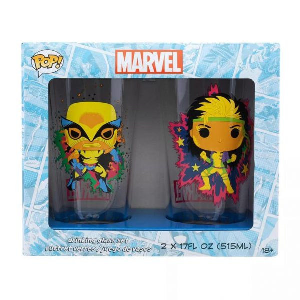 Funko Pop! Marvel X-Men Classic - 2pk Black Light Pint Glasses