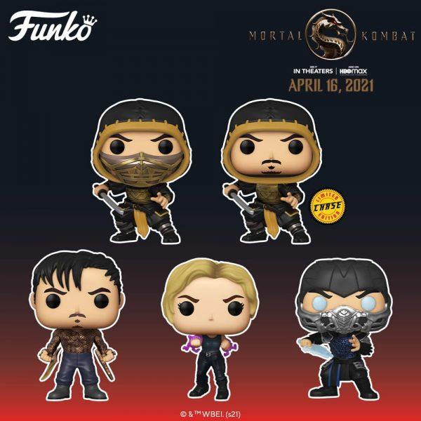 Funko Pop! Movies: Mortal Kombat 2021 - Sub-Zero, Sonya Blade, Cole Young, Scorpion With Chase Variant, Sub-Zero Glow-in-the-Dark, and Scorpion (Action Pose) Funko Pop! Vinyl Figures