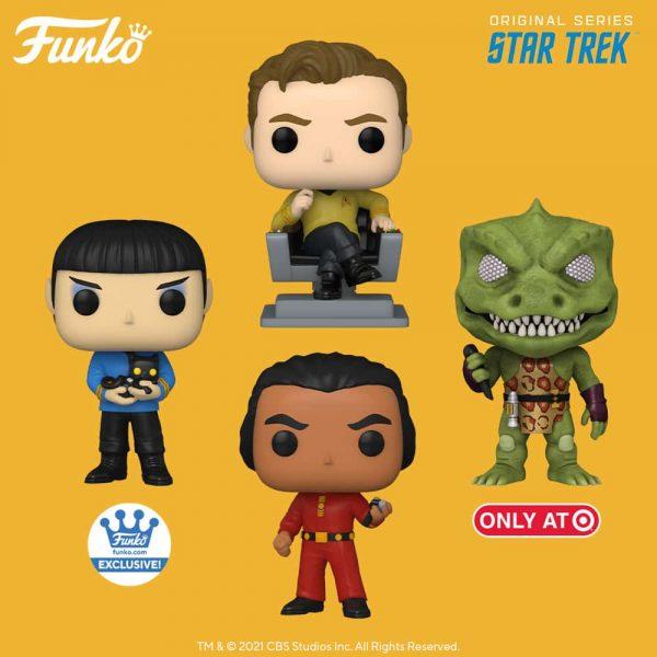 Funko Pop! Star Trek: The Original Series - Uhura (Mirror, Mirror Outfit), Captain Kirk in Chair, Spock (Mirror, Mirror Outfit), Khan, Kirk (Mirror, Mirror Outfit), Sulu (Mirror, Mirror Outfit), and Gorn with Weapon Funko Pop! Vinyl Figures