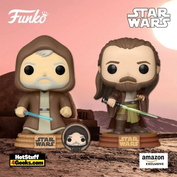 Funko Pop! Star Wars: Across The Galaxy - Qui-Gon Jinn (Tattooine) and Obi-Wan Kenobi with Special Edition Pin Funko Pop! Vinyl Figures - Amazon Exclusives