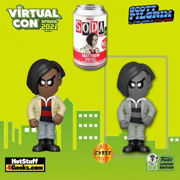 Funko Vinyl Soda: Scott Pilgrim vs. the World - Matthew Patel Vinyl Soda Figure With Chase Variant - ECCC 2021 and Newbury Comics Shared Exclusive