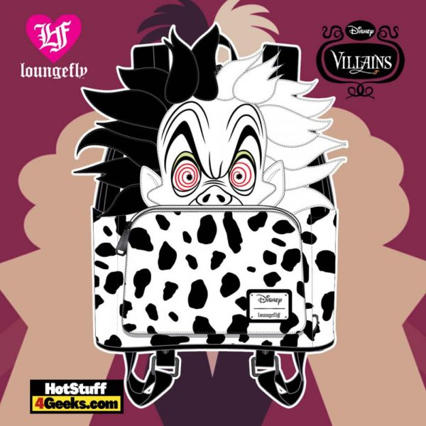Loungefly Disney Villains Cruella de Vil Spots Cosplay Mini Backpack - April 2021 pre-orders coming on May 2021