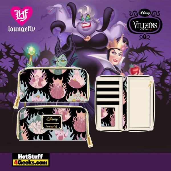 Loungefly Disney Villains Pastel Flames AOP Zip Around Wallet - April 2021 pre-orders coming on May 2021