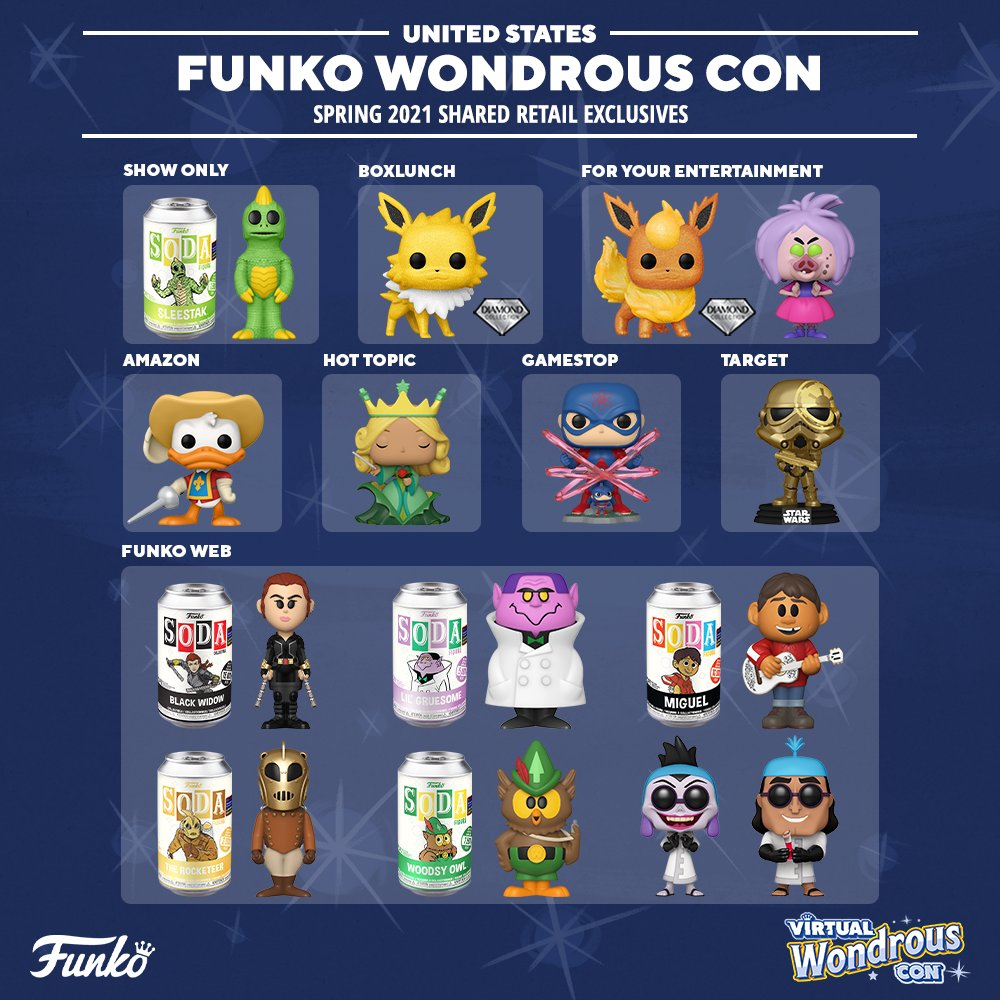 2021 Funko WonderCon Exclusives Guide Virtual Wondrous Con Shared Retailers USA
