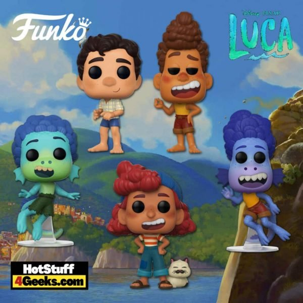 Funko POP Disney: Luca – Alberto Scorfano, Paguro, Giulia Marcovaldo, Paguro (Land) and Alberto Scorfano (Land) Funko Pop! Vinyl Figures