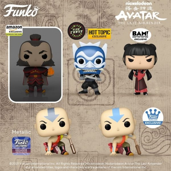 Funko Pop! Animation: Avatar: The Last Airbender - Aang (Avatar State) 6-inch, Admiral Zhao, Fire Lord Ozai, Ty Lee, Suki, and exclusives Funko Pop! Vinyl Figures