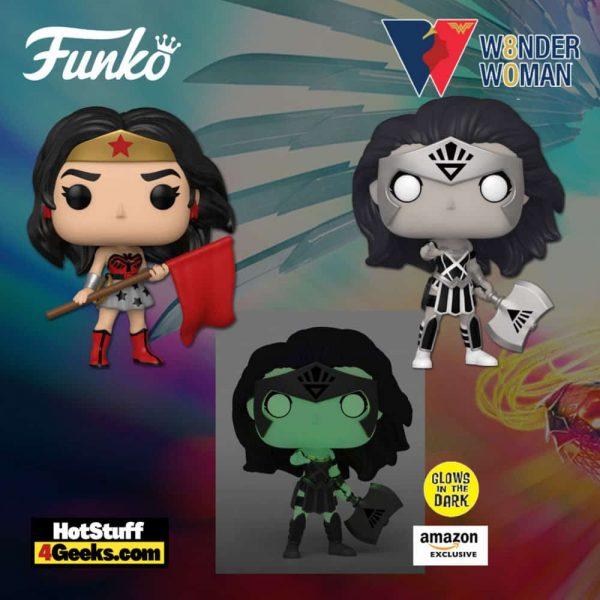 Funko Pop! DC Heroes: Wonder Woman 80th Anniversary – Wonder Woman Black Lantern Glow (Amazon Exclusive), Wonder Woman Black Lantern, and Wonder Woman Superman Red Son Funko Pop! Vinyl Figures