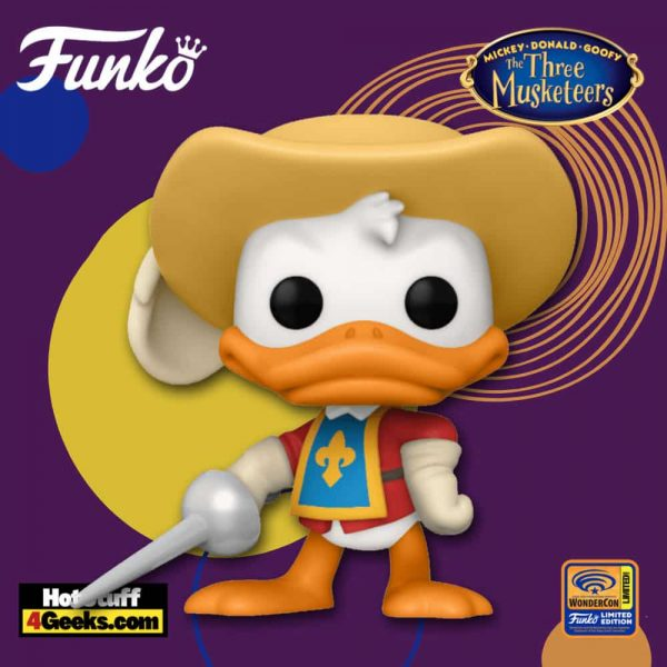 Funko Pop! Disney: The Three Musketeers - Donald Duck Funko Pop! Vinyl Figure Funko Pop! Vinyl Figure - Wondercon and Wondrous Convention 2021 and Amazon Shared Exclusive