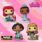 Funko Pop! Disney Ultimate Princess - Jasmine, Tiana, Aurora, and Ariel Funko Pop Vinyl Figures + Ministery Minis