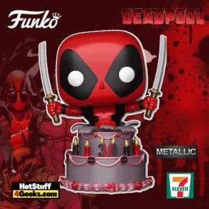 Funko Pop! Marvel: Deadpool 30th Anniversary - Deadpool in Birthday Cake (Metallic) Funko Pop! Vinyl Figure- 7-11 Exclusive