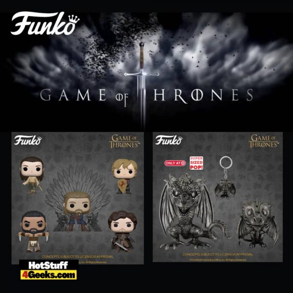 Funko Pop! Television: Game of Thrones 10th Anniversary - Khal Drogo, Robb Stark with Sword, Arya Training, Tyrion with Shield, Ned Stark on Throne, Drogon Iron Deco, Drogon Iron Deco (Walmart Exclusive) Funko Pop! Vinyl Figures
