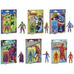 Hasbro Marvel Legends Retro 375 Collection - The Incredible Hulk, Carol Danvers, Captain America, Magneto, Spider-Man, and Fantastic 4 Human Torch Action Figures