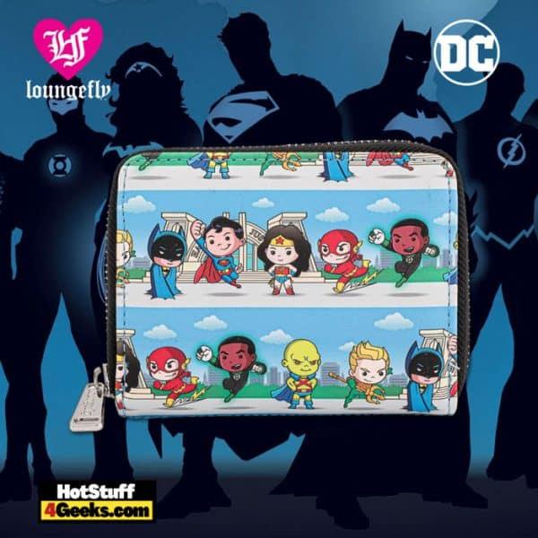 Loungefly DC Superheroes Chibi Lineup Zip Around Wallet