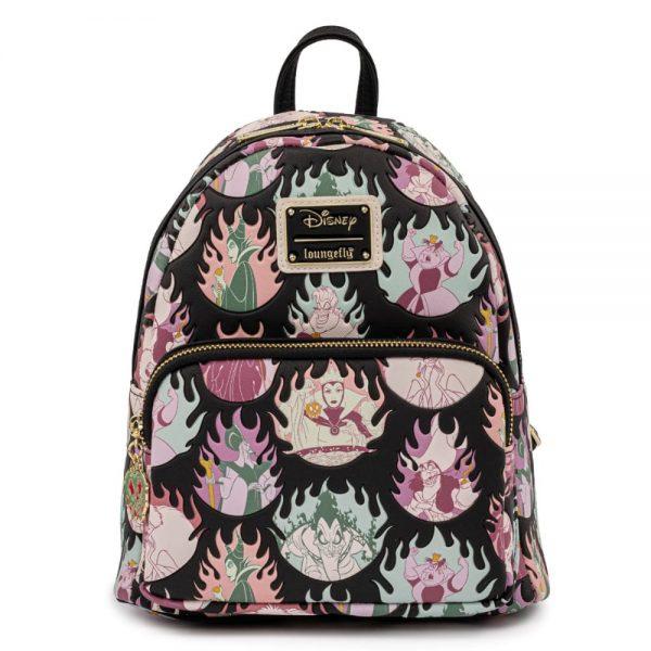 Loungefly Disney Villains Pastel Flames AOP Mini Backpack