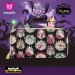 Loungefly Disney Villains Pastel Flames AOP Zip Around Wallet