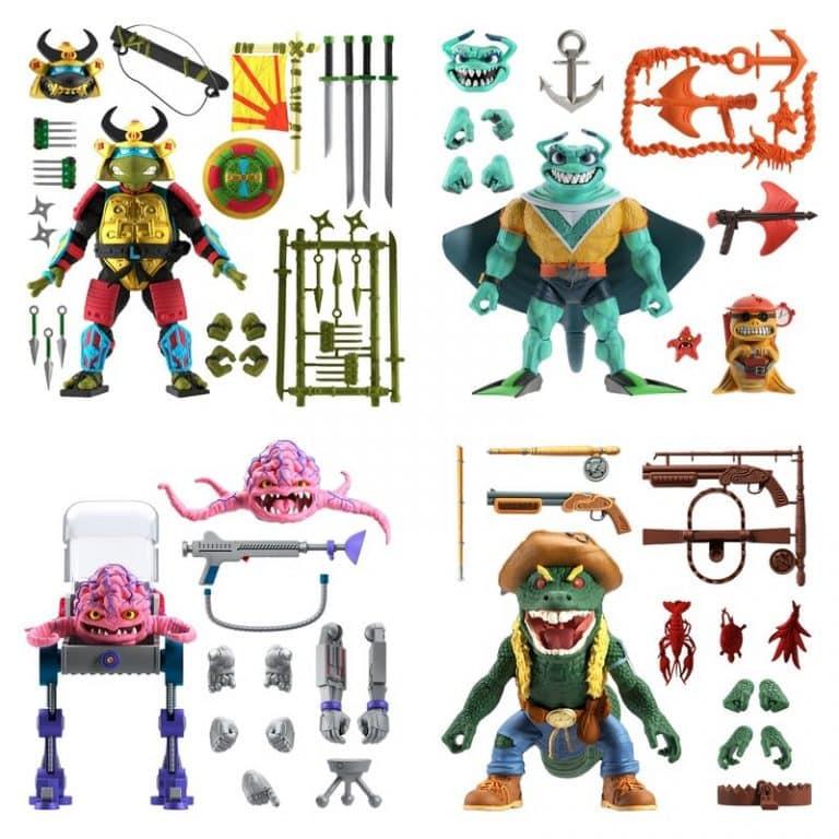 Super 7: Teenage Mutant Ninja Turtles Ultimates - Leo the Sewer Samurai, Krang, Leatherhead, and Ray Fillet 7-Inch Action Figures - Wave 5