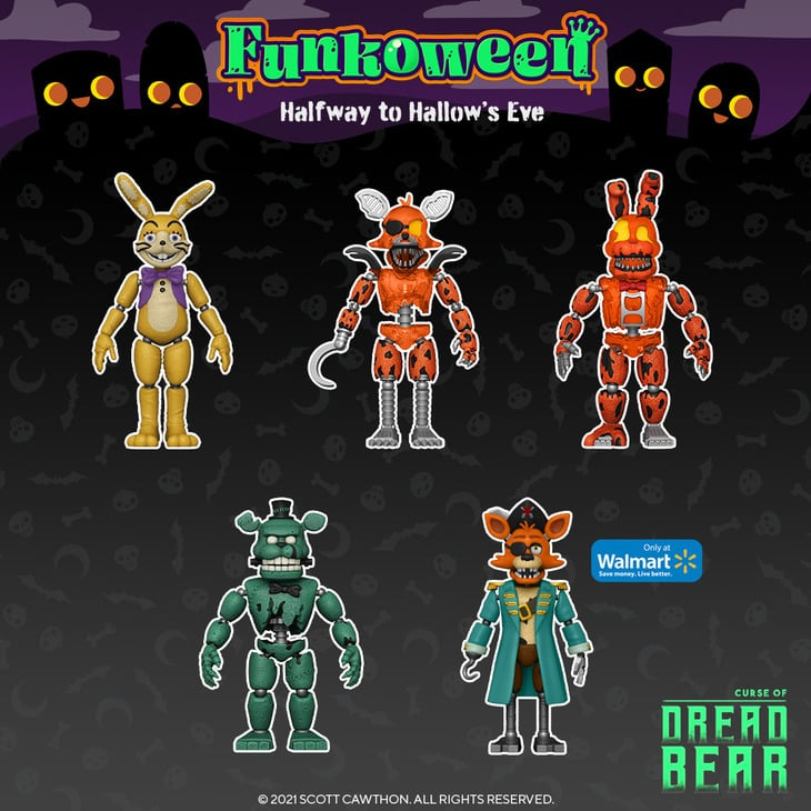 Funko Five Nights at Freddy's: Dreadbear Jack-o-Bonnie, Dreadbear, Grim Foxy, Glitchtrap, and Captain Foxy 5-Inch Action Figures - Funkoween 2021