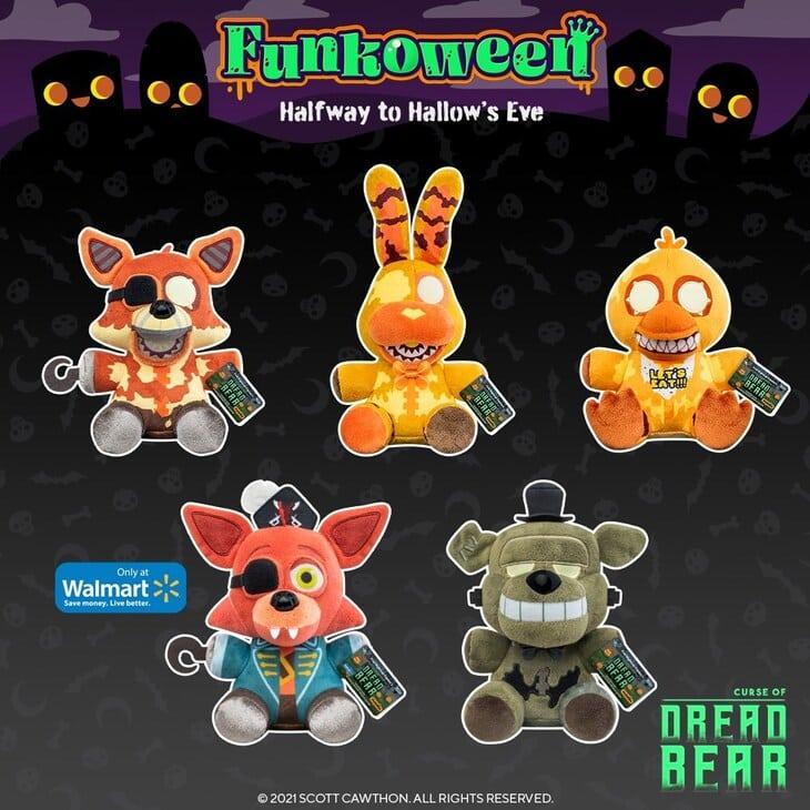 Funko Five Nights at Freddy's: Dreadbear, Grim Foxy, Jack-O-Bonnie, Jack-O-Chica, and Captain Fox Plush - Funkoween 2021
