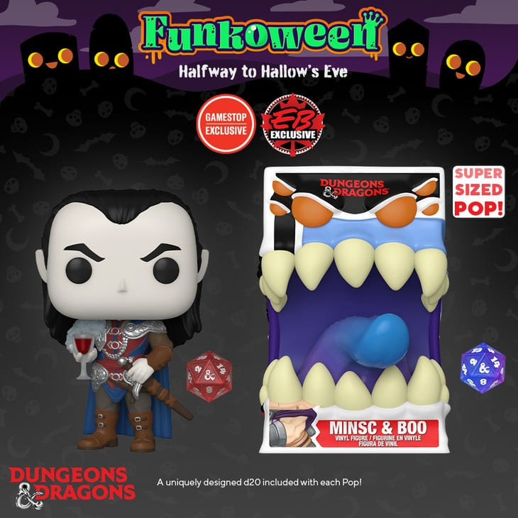 Funko POP! Games: Dungeons and Dragons: Strahd (with D20) Metallic and Mimic (with D20) 6-inch Funko Pop! Vinyl Figures - GameStop Exclusive (Funkoween 2021)