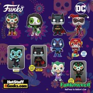 Funko Pop! DC Heroes: Dia de Los DC - Blue Beetle, Joker, Bane, Harley Quinn, Batman, Green Lantern (Jessica Cruz), Bane (Glow), Joker (Glow), and Batman (Glow) Funko Pop! Vinyl Figures - Funkoween 2021