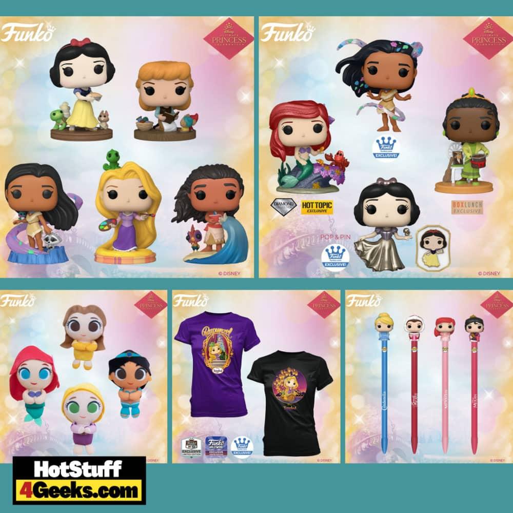 Funko Pop! Disney Ultimate Princess: Rapunzel, Cinderella, Pocahontas, Snow White, Moana Funko Pop! Vinyl Figures, 4 Plushes, and 4 Pop! Pen - Wave 4