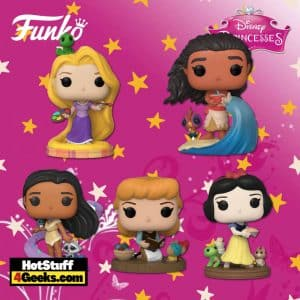 Funko Pop! Disney Ultimate Princess: Rapunzel, Cinderella, Pocahontas, Snow White, Moana Funko Pop! Vinyl Figures, 4 Plushes, and 4 Pop! Pen - Wave 4