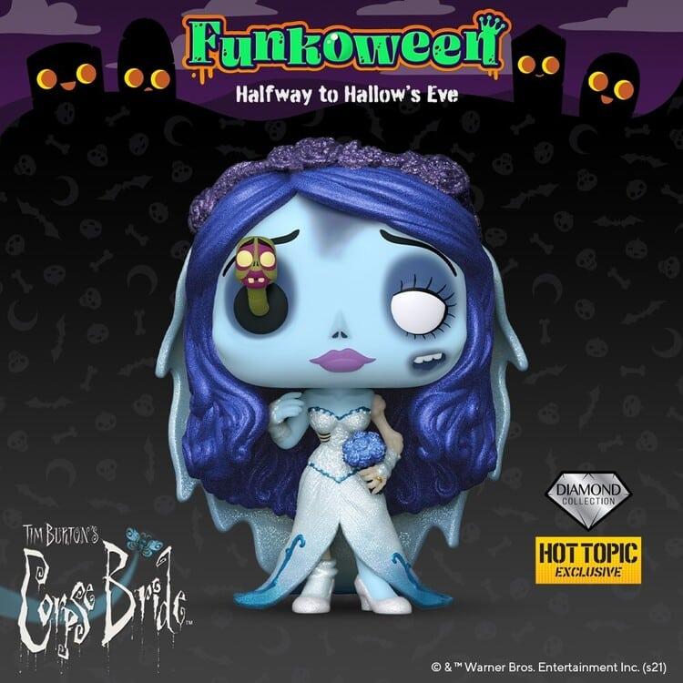 Funko Pop! Movies: Corpse Bride - Emily With Maggot Diamond Glitter Collection Finko Pop! Vinyl Figure - Hot Topic Exclusive - Funkoween 2021