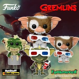 Funko Pop! Movies: Gremlins - Gizmo with 3-D Glasses, Stripe with 3-D Glasses, Gizmo with 3-D Glasses (Flocked), and 10-inch Gizmo Funko Pop! Vinyl Figures and Key Chains - Funkoween 2021