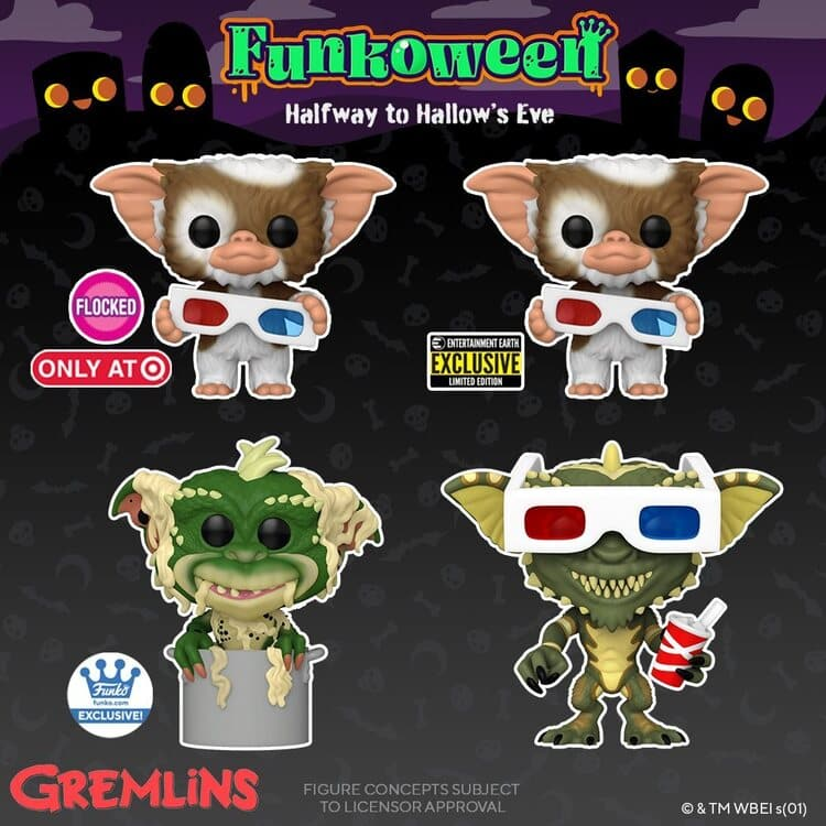 Funko Pop! Movies: Gremlins - Gizmo with 3-D Glasses, Stripe with 3-D Glasses, Gizmo with 3-D Glasses (Flocked), and 10-inch Gizmo Funko Pop! Vinyl Figures and Key Chains
