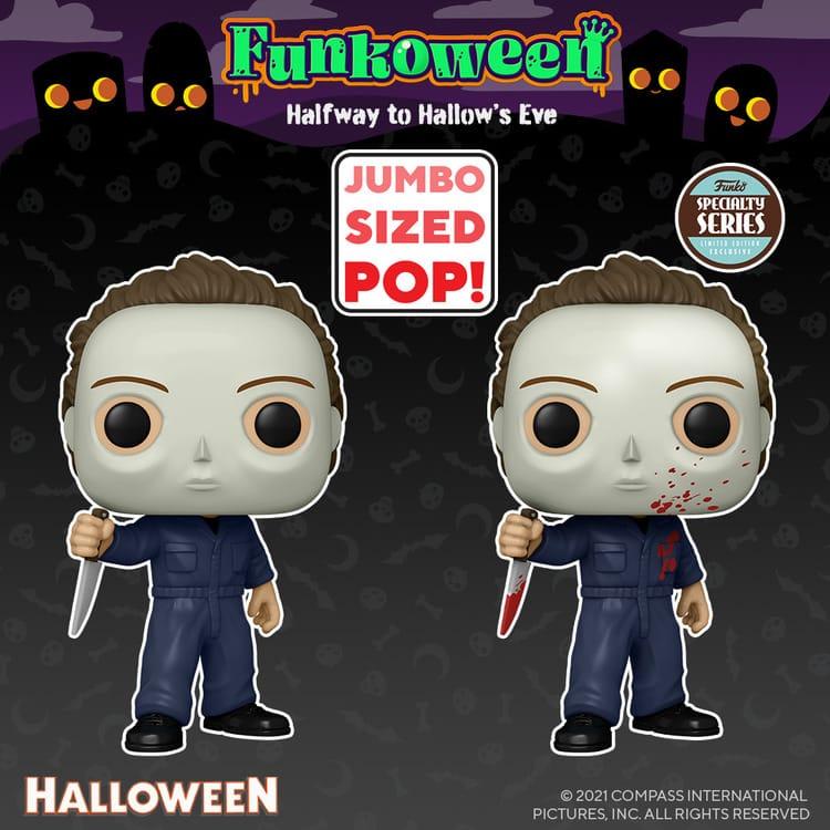 "Funko Pop! Movies: Halloween Michael Myers, Michael Myers 10-Inch, Michael Myers Blood Splatter, Bloody Michael Myers, and 10"" Bloody Michael Myers Funko Pop! Vinyl Figure - Funkoween 2021"