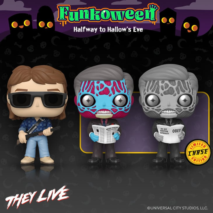 Funko Pop! Movies: They Live - John Nada and Alien With Black and White Chase Funko Pop! Vinyl Figures - Funkoween 2021