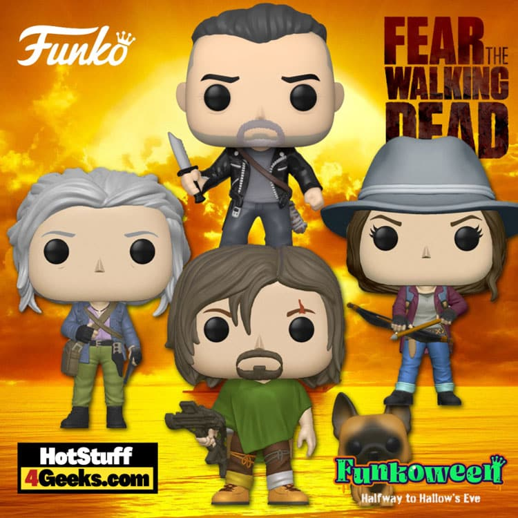 Funko Pop! Television: The Walking Dead - Daryl, Maggie with Bow, Carol with Bow and Arrow, and Negan First to Market Funko Pop! Vinyl Figures - Funkoween 2021