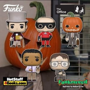 Funko Pop! The Office: Kevin as Dunder Mifflin Superhero, Oscar with Ankle Attachments, Dwight Pumpkinhead, Dwight with Blow Torch, and Michael Golden Ticket Funko Pop! Vinyl Figures