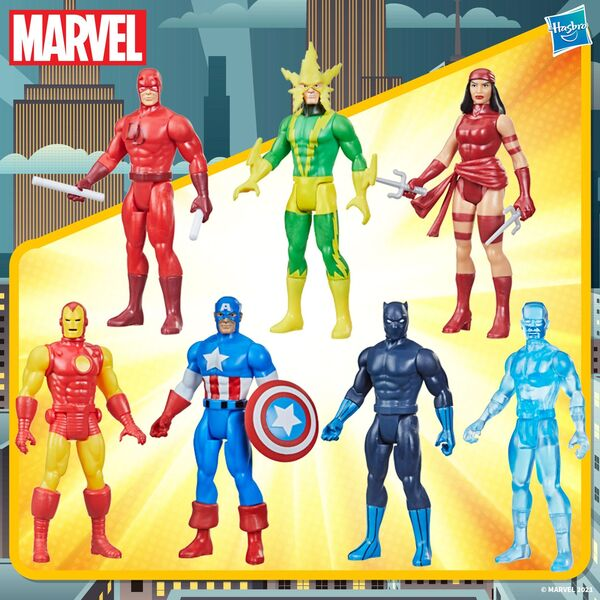 Hasbro Marvel Legends Retro 375 Collection – Black Panther, Daredevil, Iron Man, Elektra, Iceman, Electro, and Captain America Action Figures - wave 2