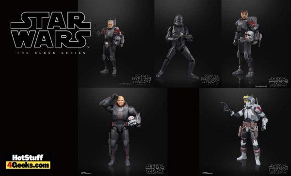 Hasbro: Star Wars The Black Series Bad Batch Action Figures - Hunter, Crosshair, Wrecker, Tech, and Elite Squad Trooper.