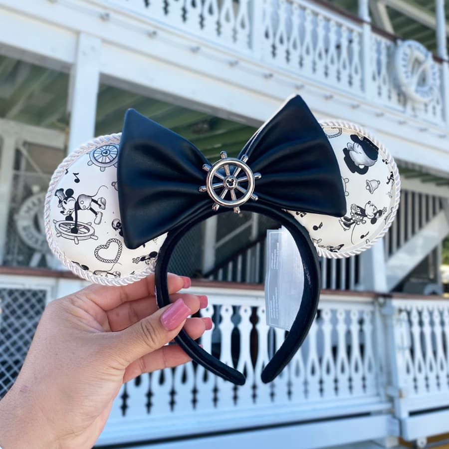 Loungefly Disney Steamboat Willie Ears Bow Rope Piping Headband