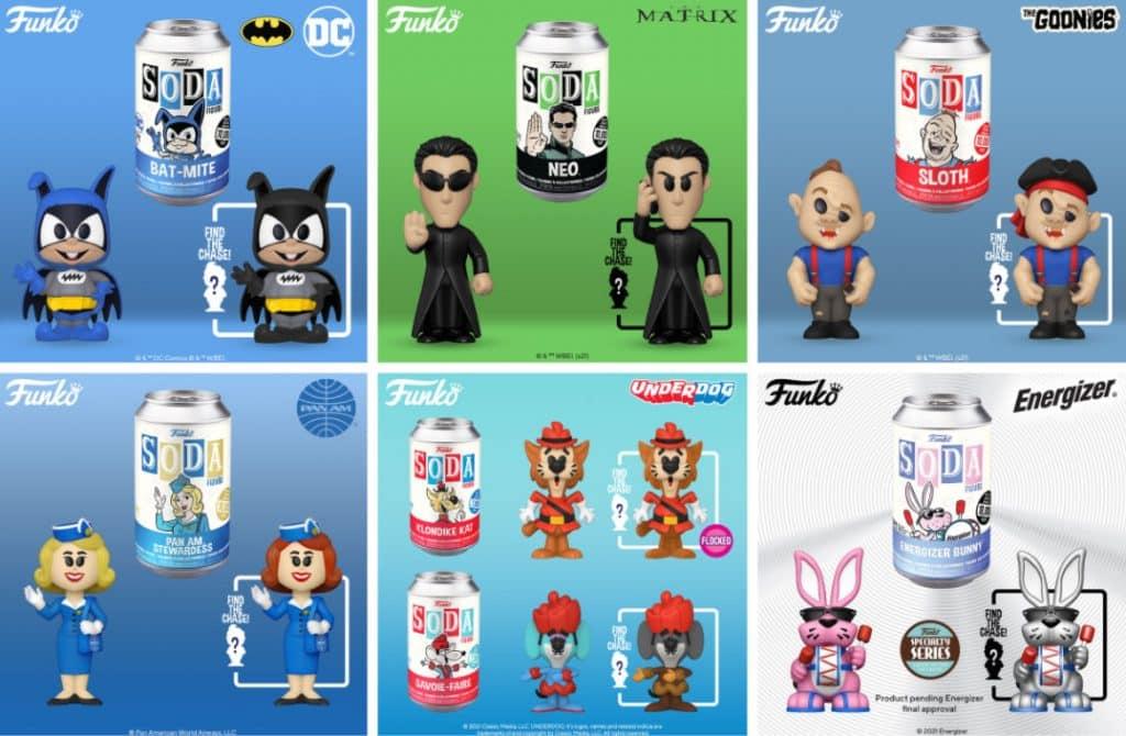 Funko Vinyl Soda: Energizer Bunny, Klondike Kat, The Goonies Sloth, DC Comics Bat-Mite, Pan Am Stewardess, Klondike Kat Savoir-Faire, and The Matrix Neo Vinyl Soda Figures