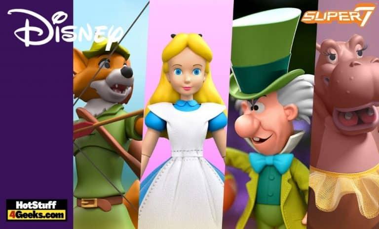 Super 7: Disney ULTIMATES! Wave 2 - Robin Hood with Stork Costume, Alice Wonderland: Mad Hatter, Alice in Wonderland: Alice and Fantasia: Hyacinth Hippo Action Figures - Wave 2