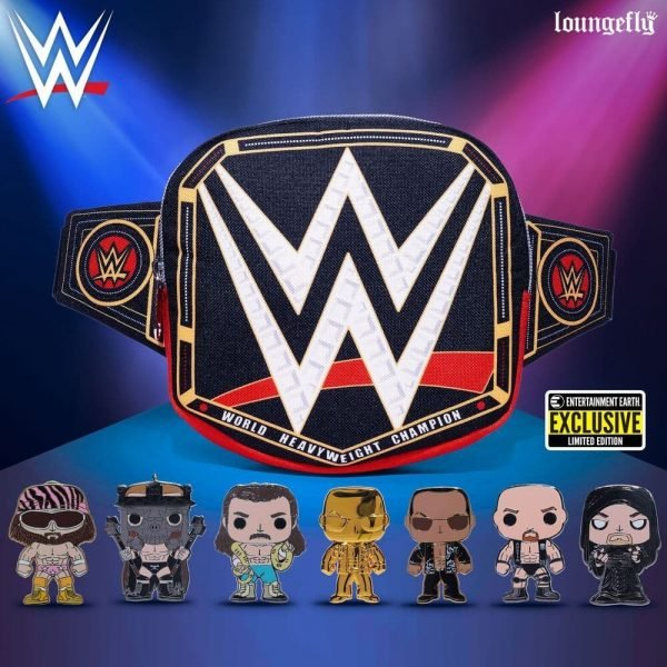 WWE WrestleMania Championship Belt Fanny Pack + Blind-Box Enamel Pop! Pins - Entertainment Eart Exclusives from Loungefly