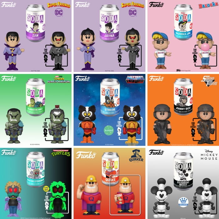 Funko Soda Figures - Joe, Hulk, Zan, Baxter Stockman, Stinkor, Quake, Johnny Rico, Jayna Vinyl Funko Soda Figures