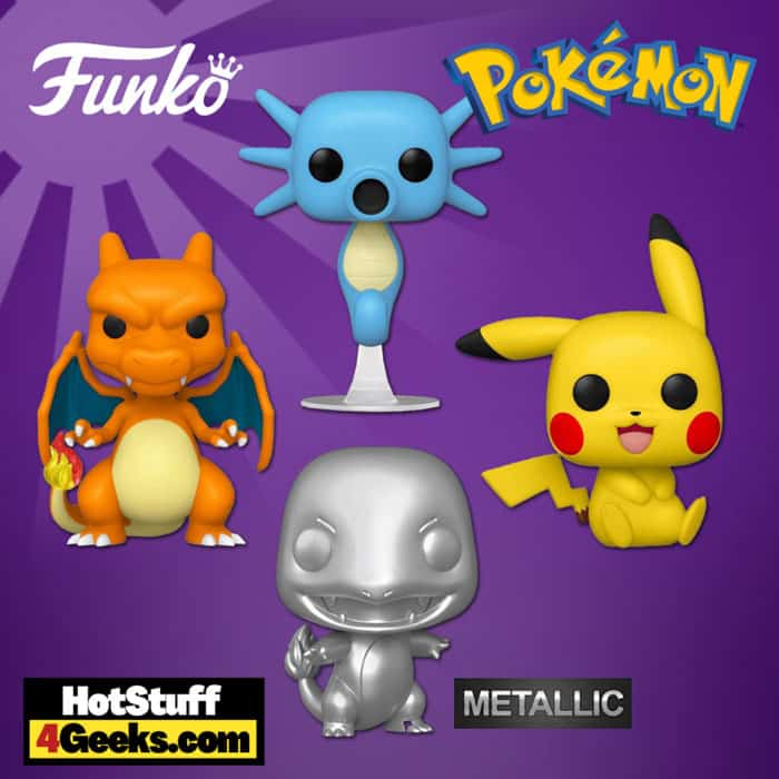 Funko Pop! Games: Pokemon - Pikachu Sitting, Charizard, Horsea, and Charmander Metallic Silver Funko Pop! Vinyl Figures S7 - Celebrating 25 years