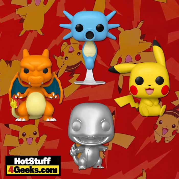 Funko Pop! Games: Pokemon - Pikachu Sitting, Charizard, Horsea, and Charmander Metallic Silver Funko Pop! Vinyl Figures