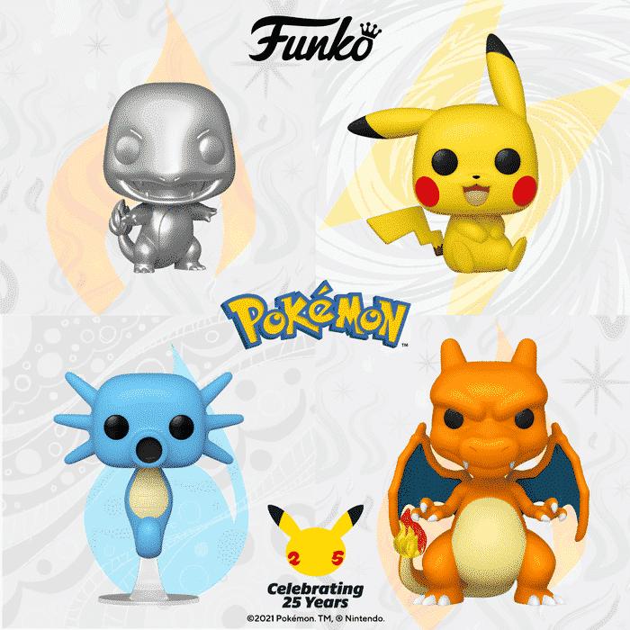Funko Pop! Games: Pokemon - Pikachu Sitting, Charizard, Horsea, and Charmander Metallic Silver Funko Pop! Vinyl Figures - Celebrating 25 years