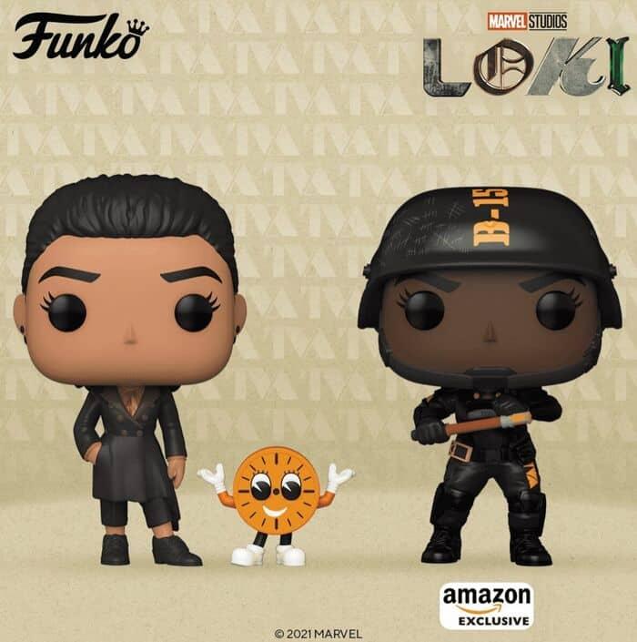 Funko Pop! Marvel: Loki - Hunter B-15 (Amazon), and Ravonna Renslayer with Miss Minutes Funko Pop! Vinyl Figures