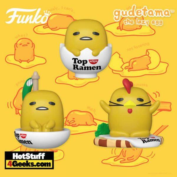Funko Pop! Sanrio: Gudetama X Nissin - Gudetama in Shell, Chicken Gudetama, and Gudetama in Boat Funko Pop! Vinyl Figures
