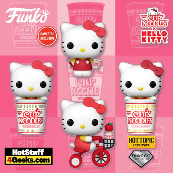 Funko Pop! Sanrio: Hello Kitty x Nissin - Hello Kitty on Bike, in Noodle Cup, with Noodles and Fork and Noodle Cup Diamond Glitter Funko Pop! Vinyl Figures