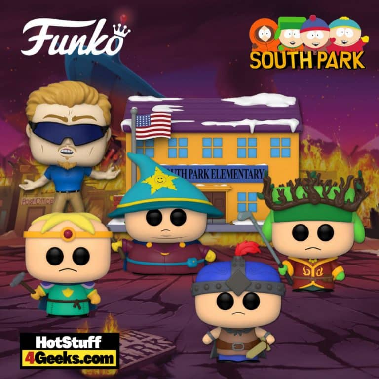 Funko Pop! South Park: The Stick of Truth - High Elf King Kyle, Paladin Butters, Grand Wizard Cartman, Ranger Stan Marshwalker, and South Park Elementary w/PC Principal Funko Pop! Vinyl Figures