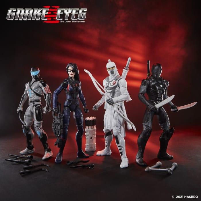 G.I. Joe Snake Eyes Movie: Core Ninja Snake Eyes and Storm Shadow Vehicles and Scarlett, Snake Eyes, Baroness, Snake Eyes 2, Storm Shadow, Night Creeper, and Red Ninja 6-Inch Action Figures