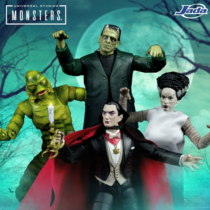 Jada Toys: Universal Monsters 6-Inch Scale Figures - includes Dracula, Frankenstein's Monster, The Bride of Frankenstein, and The Creature From The Black Lagoon
